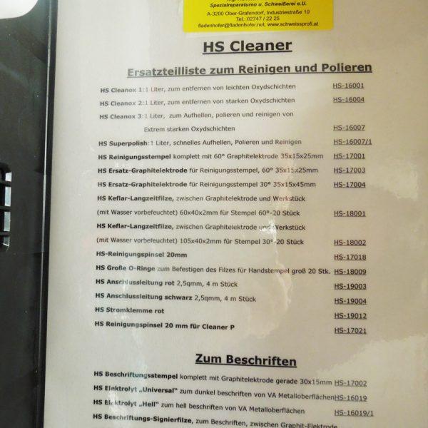 Ersatzteilliste HS Cleaner